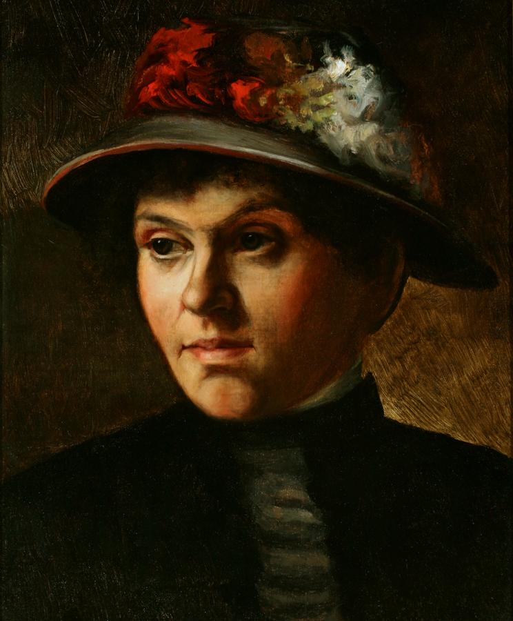 William Keith, Portrait of Lady with Hat, 1884, Oil on canvas, 17 x 14 inches, Collection of Saint Mary's College Museum of Art,  Gift of John Dowling Relfe, 93.15.10