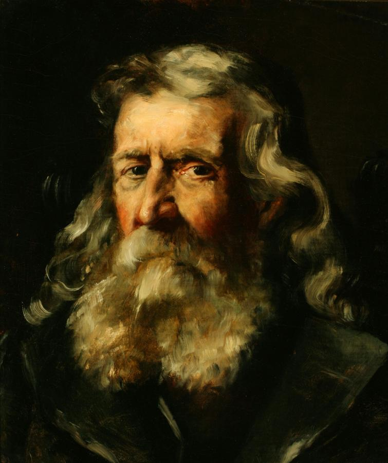 William Keith, Portrait of an Old Gentleman, 1884, Oil on canvas mounted on masonite, 20 x 17 inches, Collection of Saint Mary's College Museum of Art,  Gift of John Dowling Relfe, 93.15.1