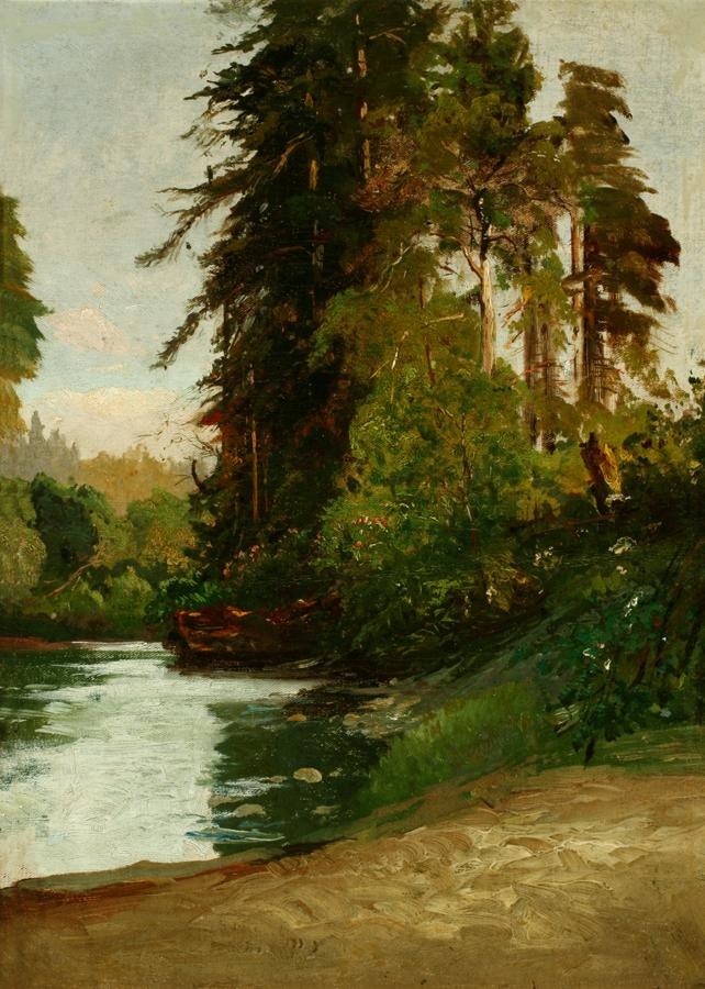 William Keith, San Lorenzo River, Santa Cruz County Sketch, 1872-1883, Oil on canvas, 16 ¼ x 12 ¼ inches, Collection of Saint Mary's College Museum of Art,  Gift of John Dowling Relfe, 93.15.6