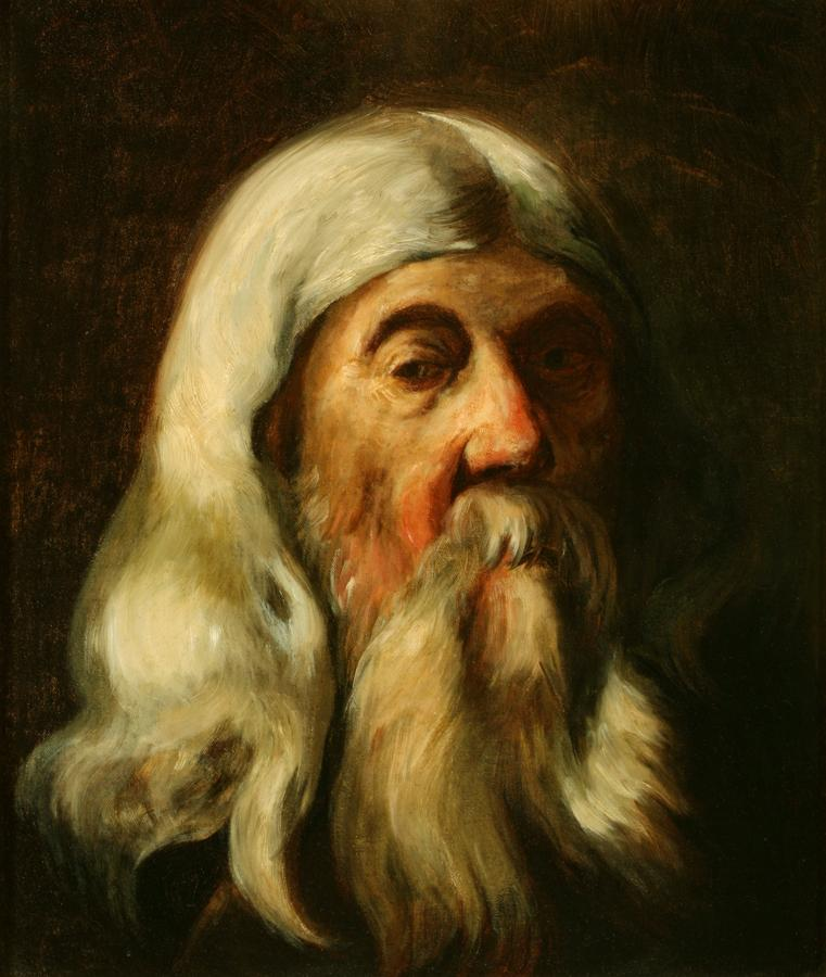 William Keith, Portrait of an Old Gentleman (#2), 1885, Oil on canvas, 19 x 16 inches, Collection of Saint Mary's College Museum of Art,  Gift of John Dowling Relfe, 93.15.7