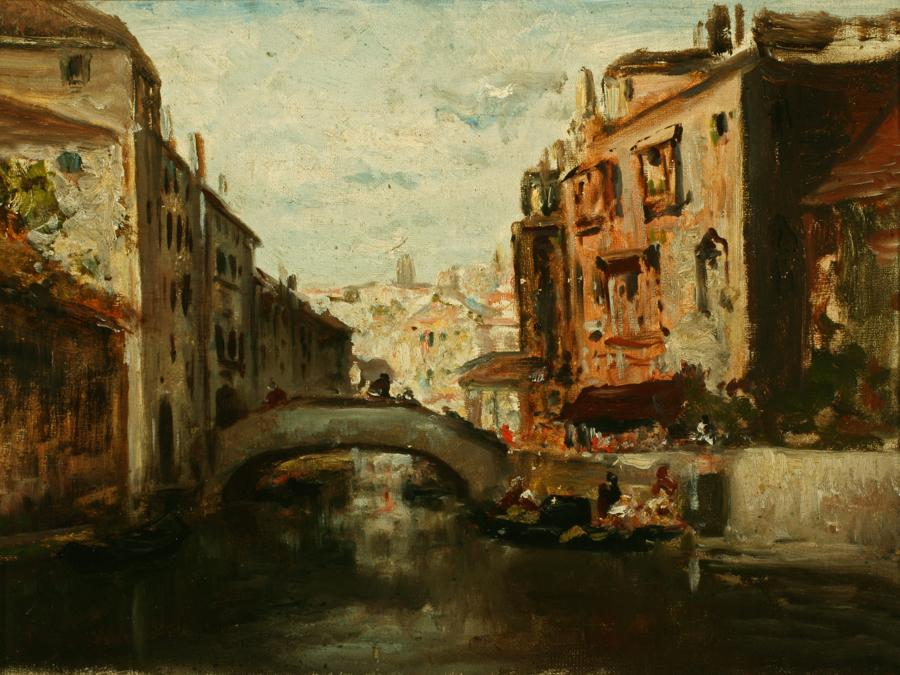Attributed to William Keith, Rialto Bridge, Venice, circa 1884, Oil on canvas, 12 x 16 inches, Collection of Saint Mary's College Museum of Art,  Gift of John Dowling Relfe, 93.15.9