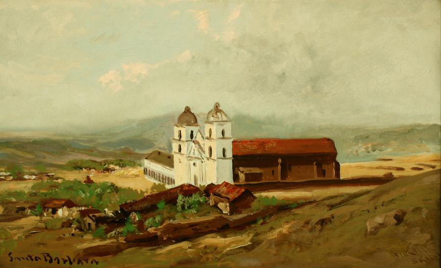 William Keith, Santa Barbara Mission, 1883, Oil on canvas, 16 x 26 inches, Collection of Saint Mary's College Museum of Art,  College purchase