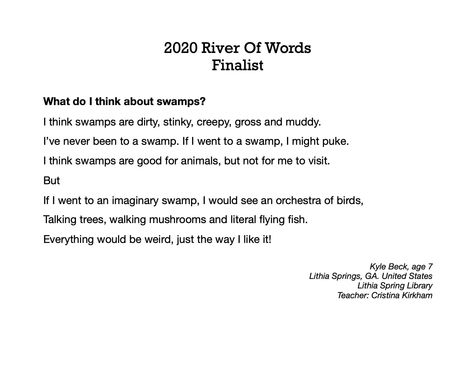2020 River of Words Poetry Winners and Finalists