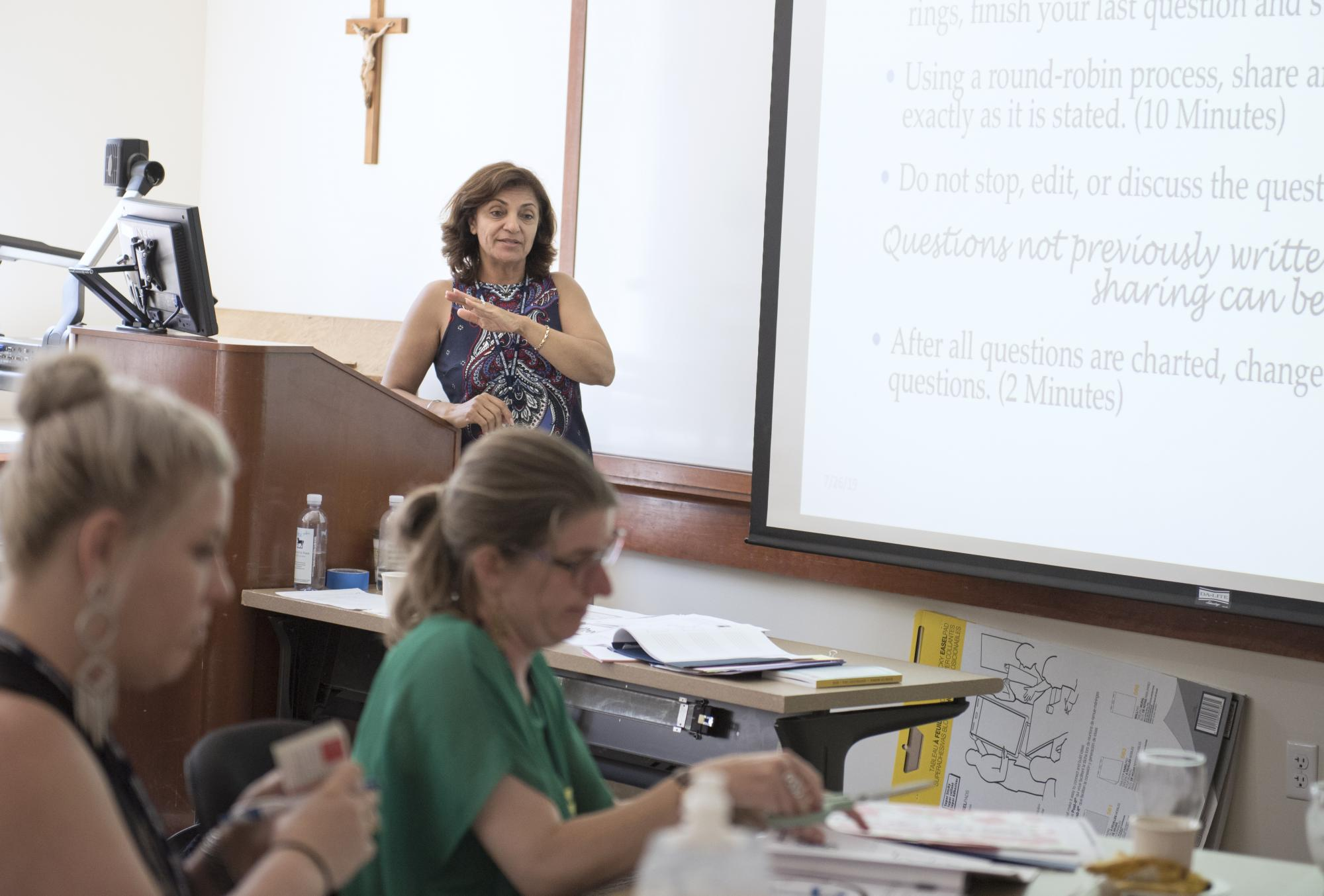 Features Nahid Nariman, specialist from TIDES (Transformative Inquiry Design for Effective Schools and System), at the 2019 CEL Summer CO-LAB at Saint Mary's College of California: July 26-28th, 2019. Photography by Maureen Esty and Haley Nelson