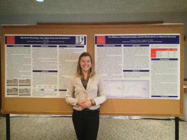 Cady Cadiz presenting her research on barefoot running at the campus-wide Student Research Symposium.
