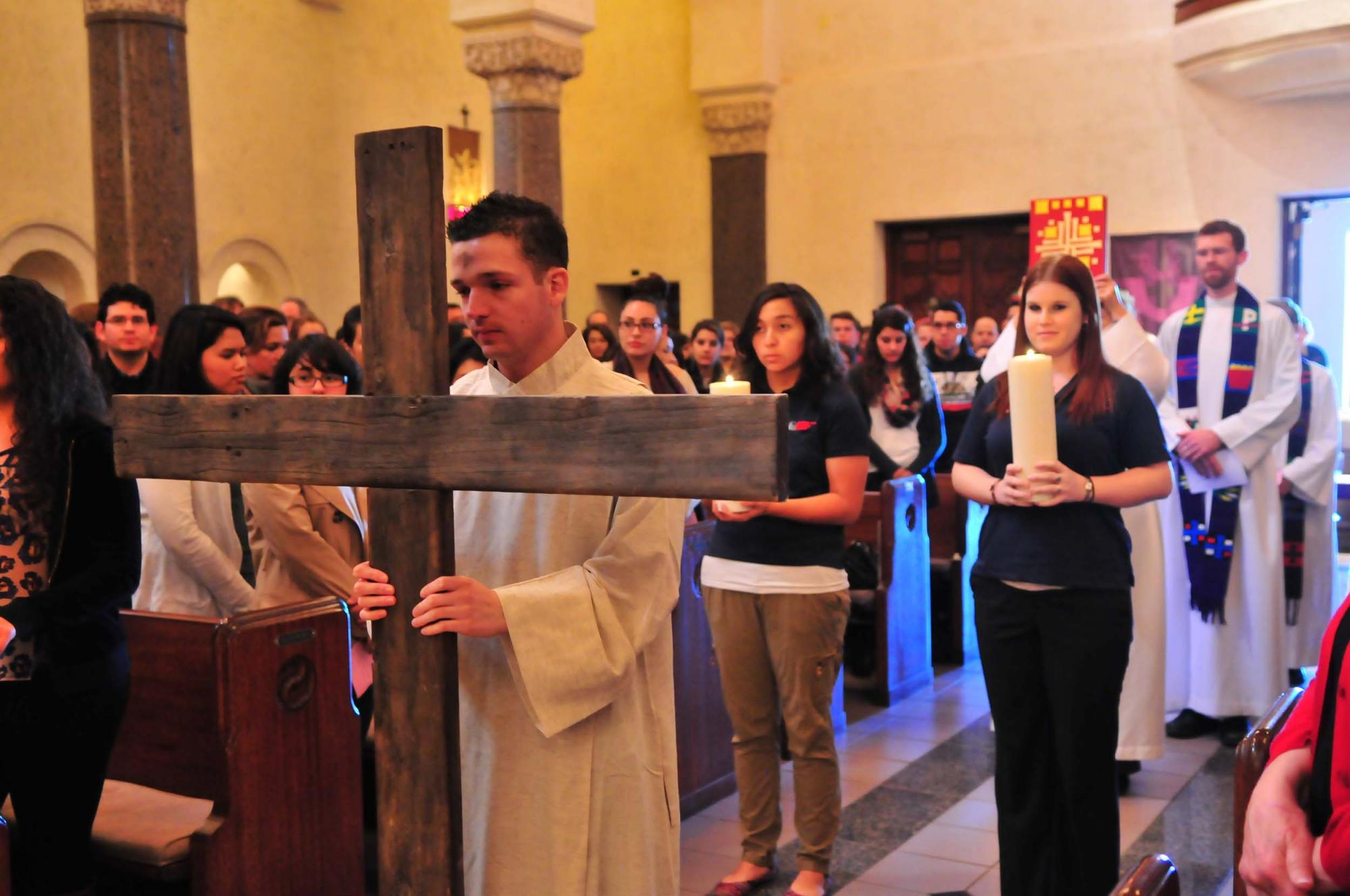Images for the all-College liturgy on Ash Wednesday showing congregants, candidates for Confirmation, singers and dancers