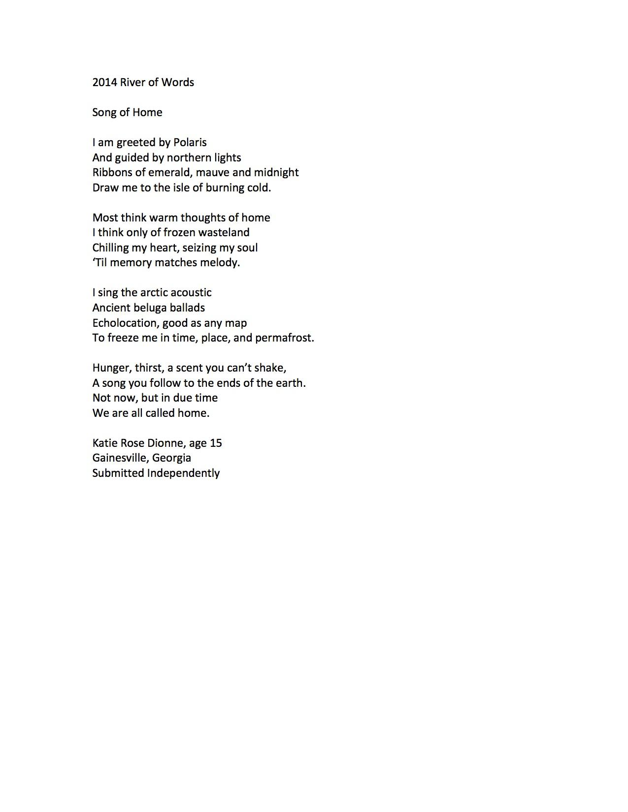 """Song of Home"" by Katie Rose Dionne (c) 2014 River of Words"
