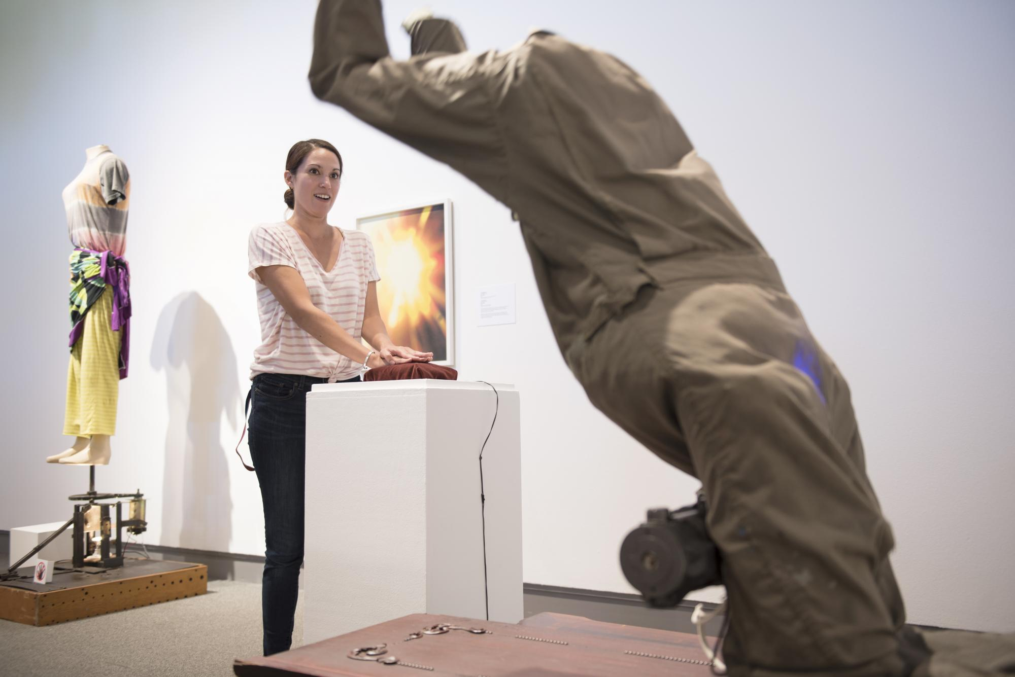 """Intention machine, """"Mark Pauline"""" rotates up and down based on visitor's physiology.  Photograph by Haley Nelson."""