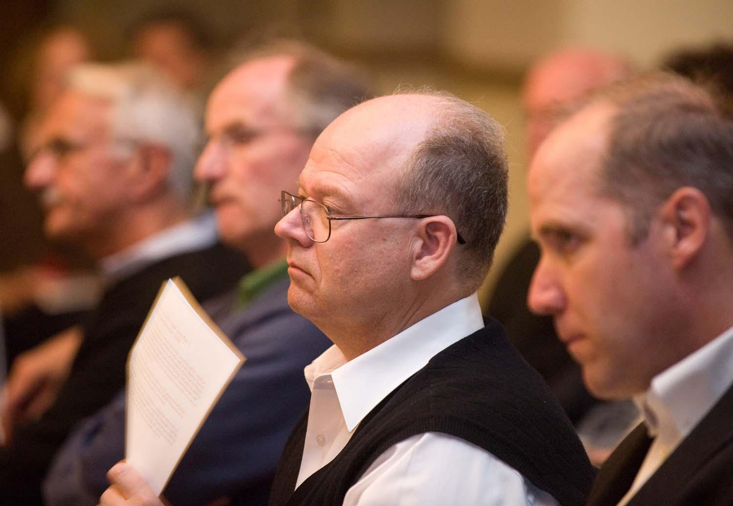 Brother Charles Hilken listened to the views of the speakers.