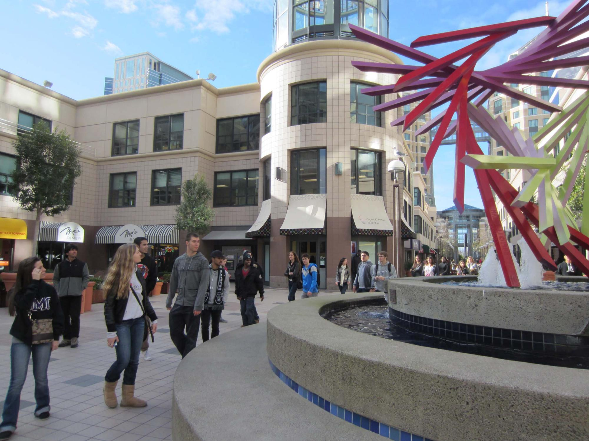 "Strolling through City Center, past Roslyn Mazzilli's sculpture, ""There."""