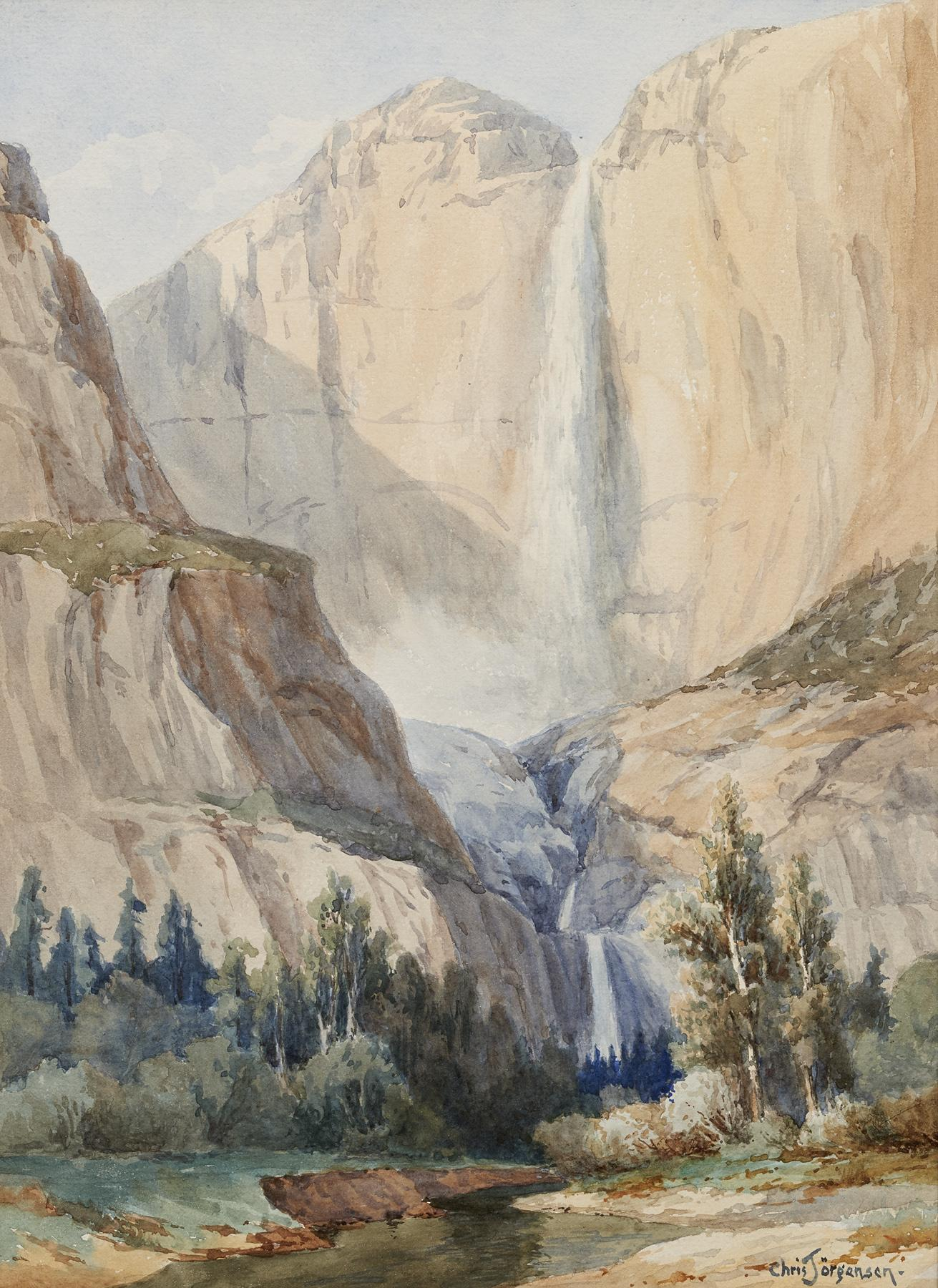 Chris Jorgensen, Yosemite Falls, watercolors on paper, Collection of Roger and Kathy Carter