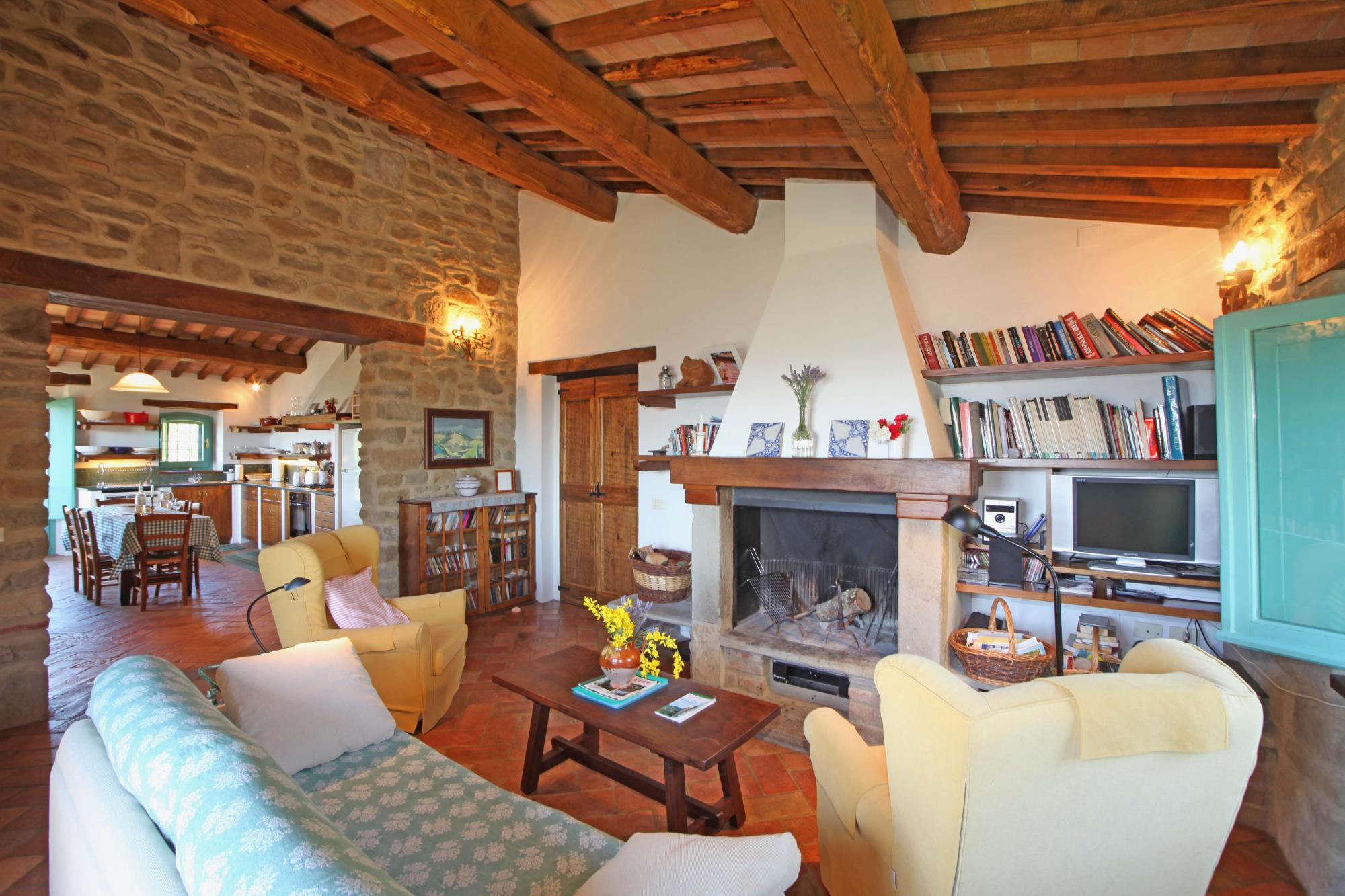 La Quercia villa upstairs living room