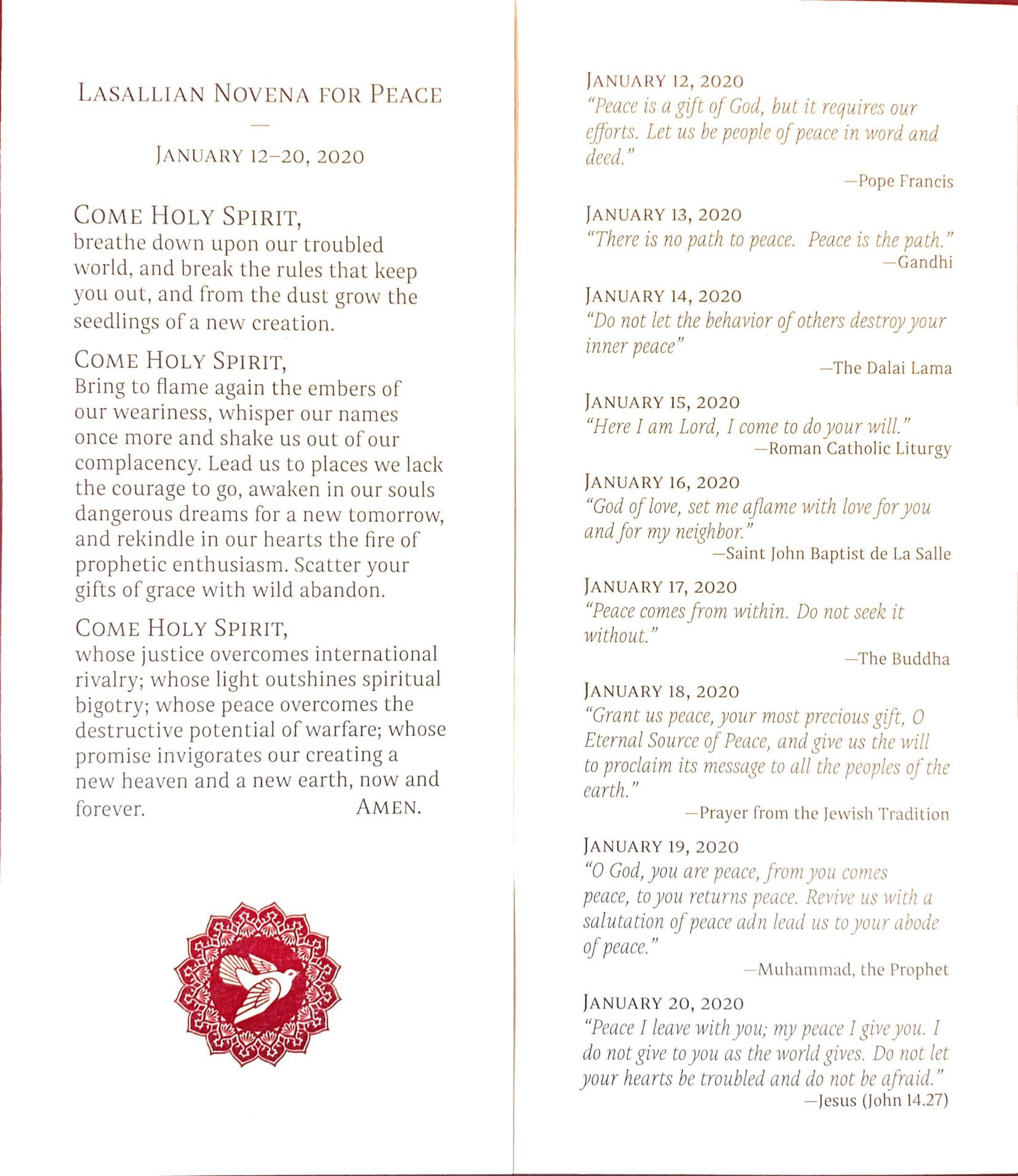 Lasallian Novena for Peace prayer and quotes