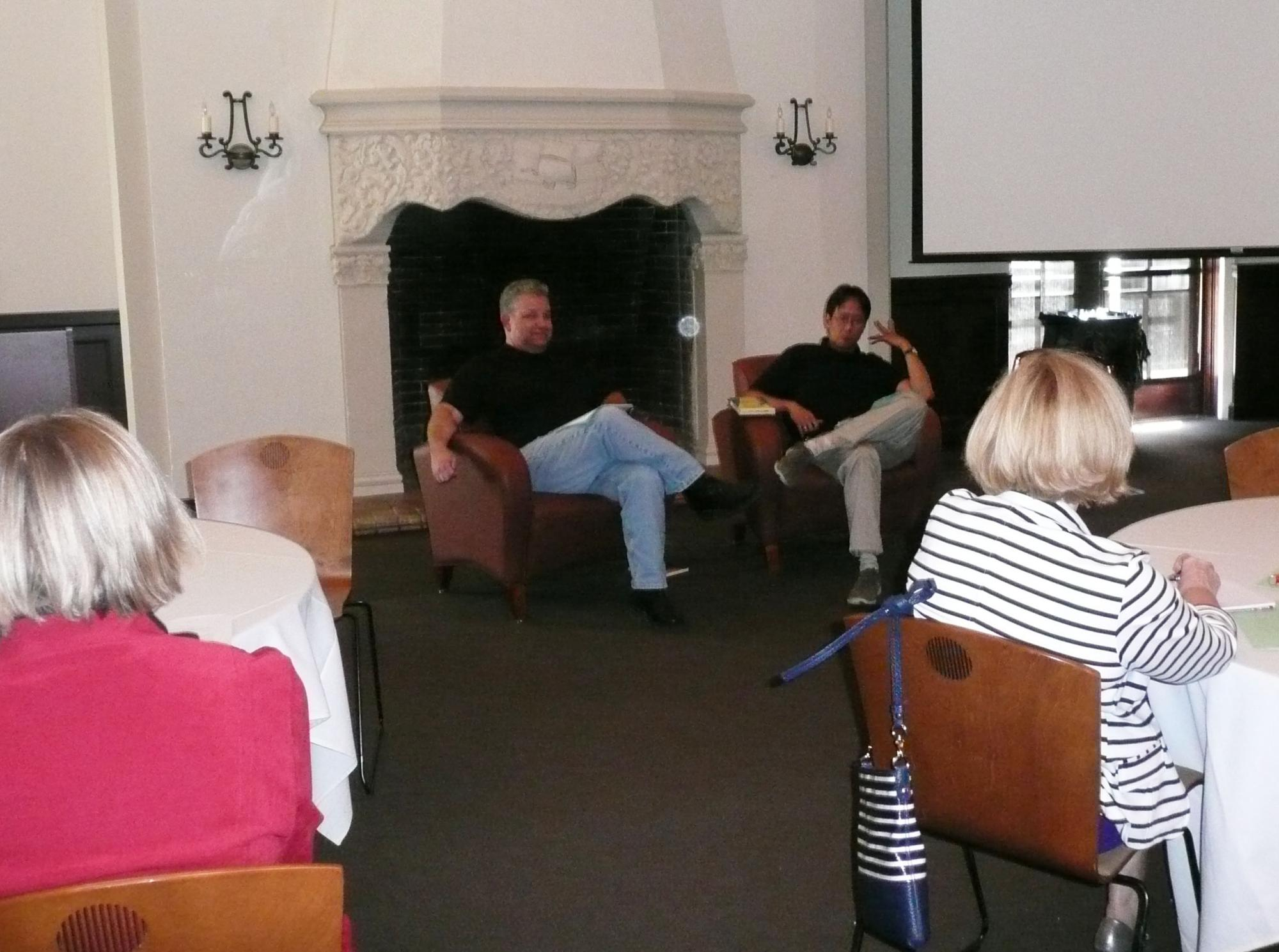 Library staff members and authors Mike Jung and Norm Partridge talked about how to follow your creative muse.