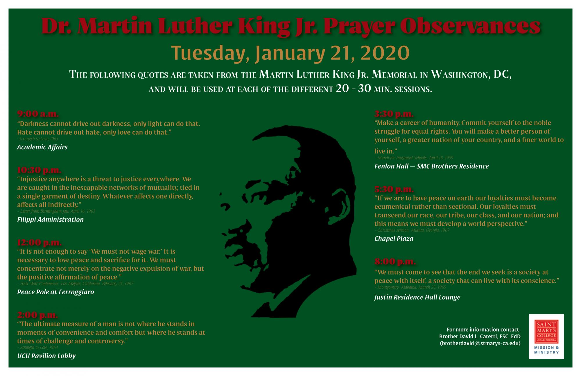 MLK Prayer Observances schedule