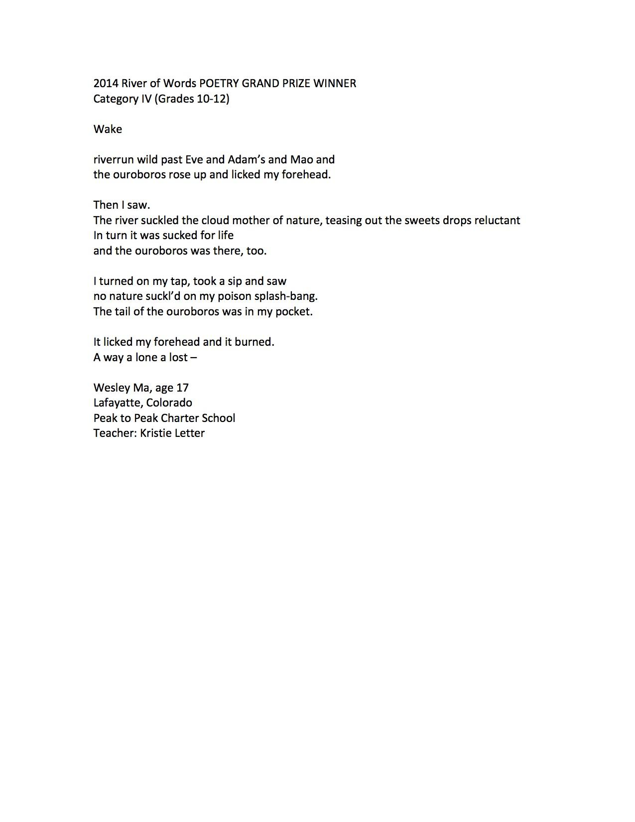 """Wake"" by Wesley Ma, Grand Prize Category IV