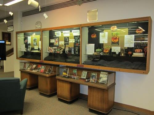 A display highlighting the library collection and resident authors.