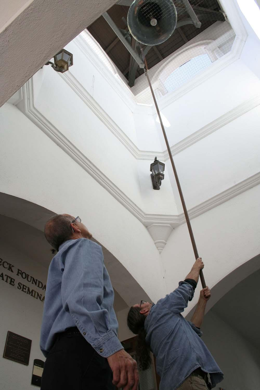 The ringing of the campus bell announces the good news.