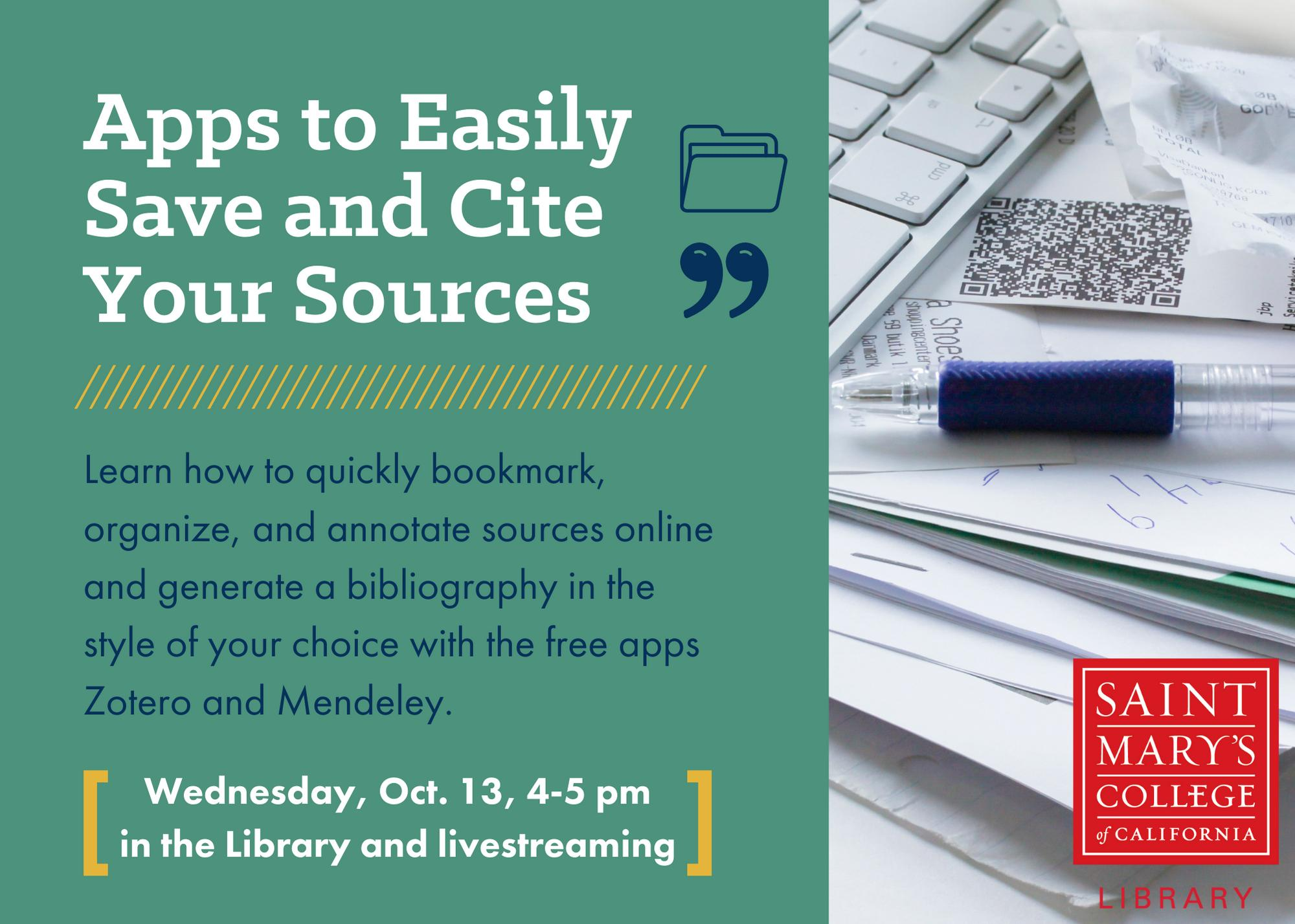 Apps to Easily Save and Cite Your Sources flyer