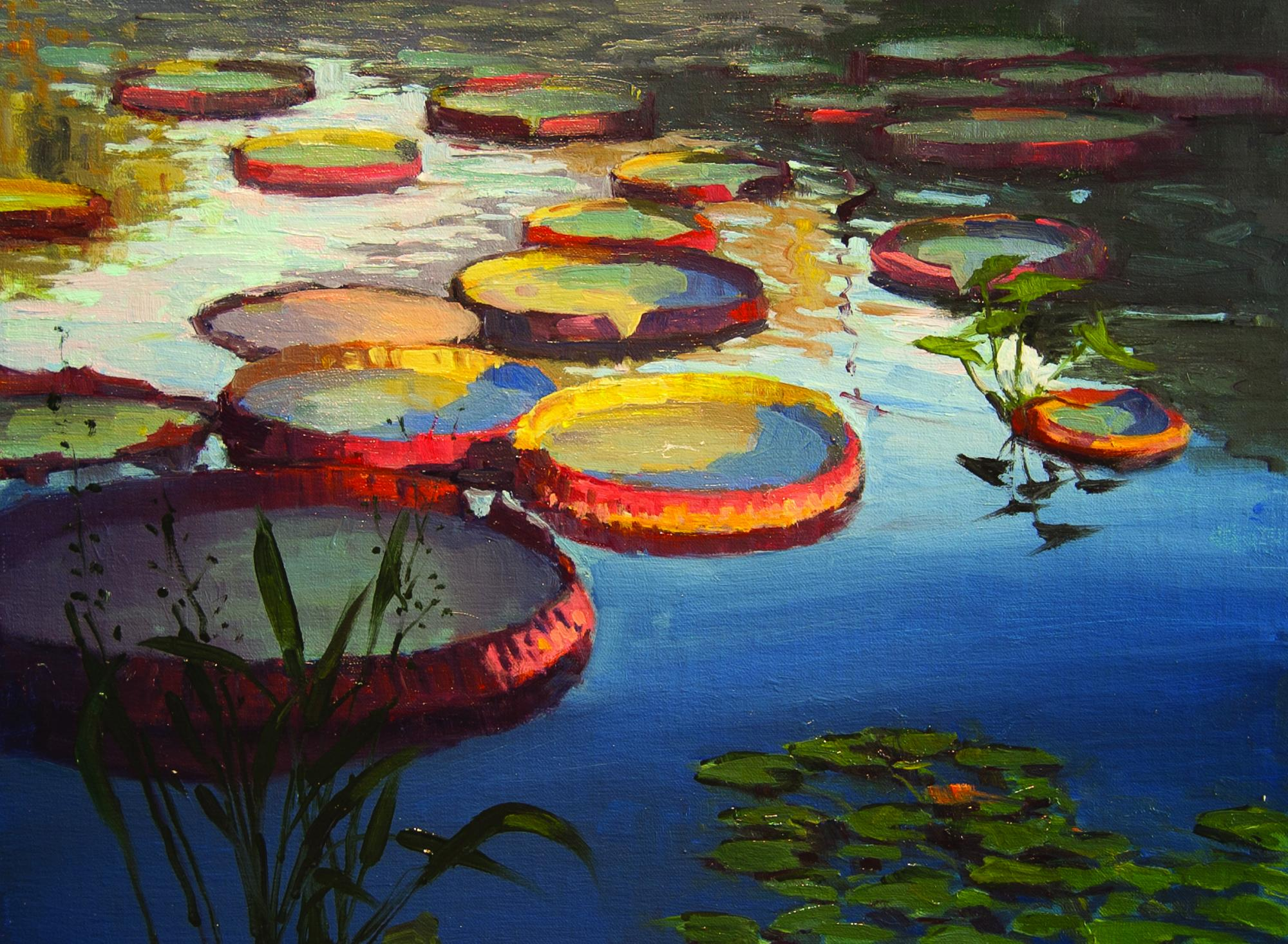 Mark Farina, Giant Victoria Lily Pads, oil