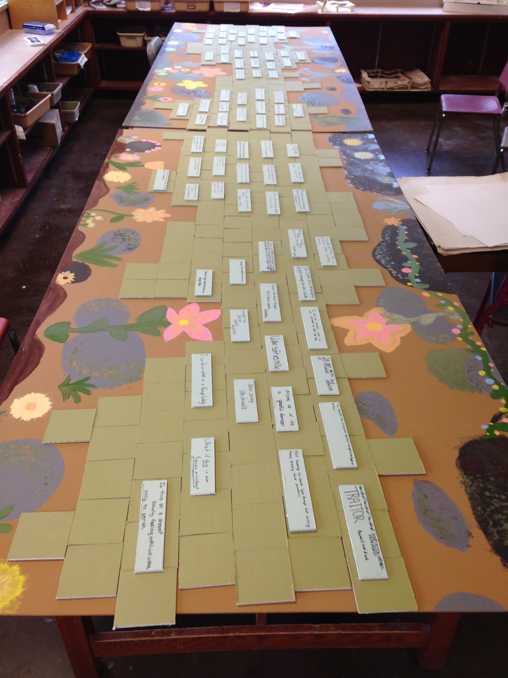 Mural of art and poetry, designed by students using the Watershed Explorer Curriculum