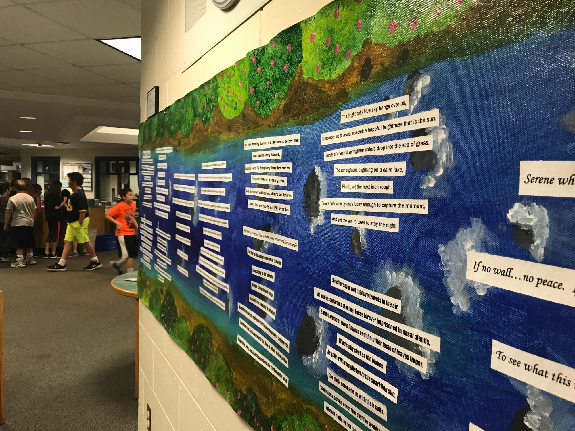 River of Words mural installation at school library, JFK Middle School - Northampton, MA