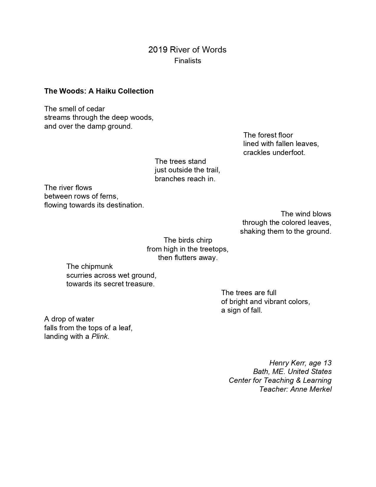 2019 River of Words Poetry Winners and Finalists