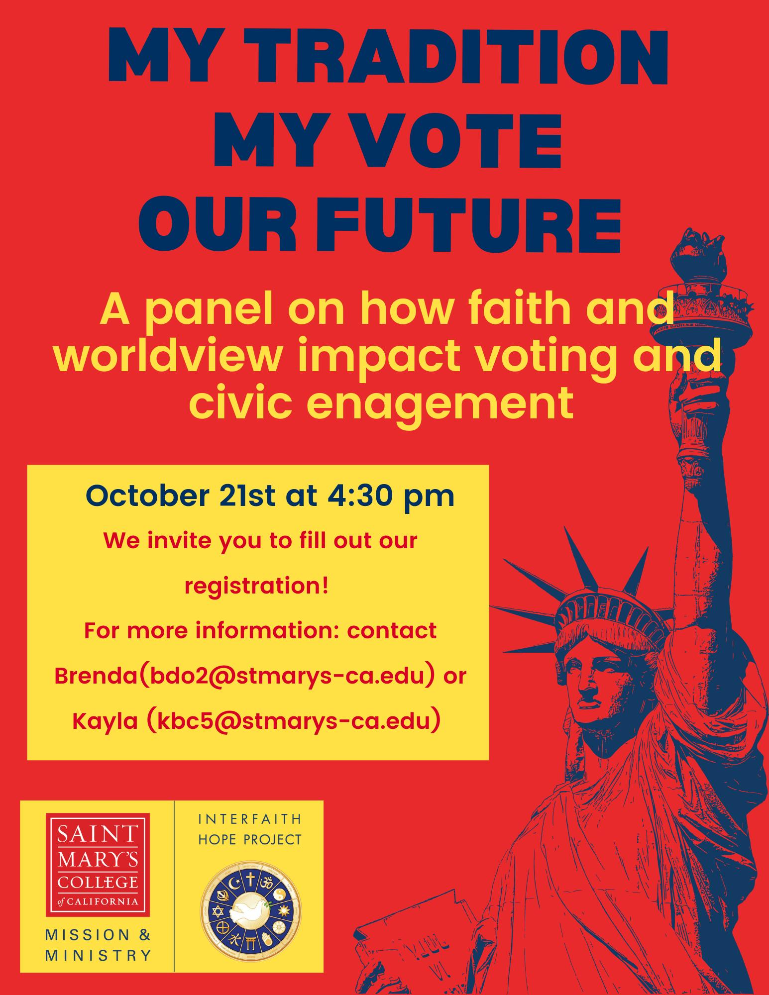 My Faith, My Vote, Our Future Panel Event Flyer