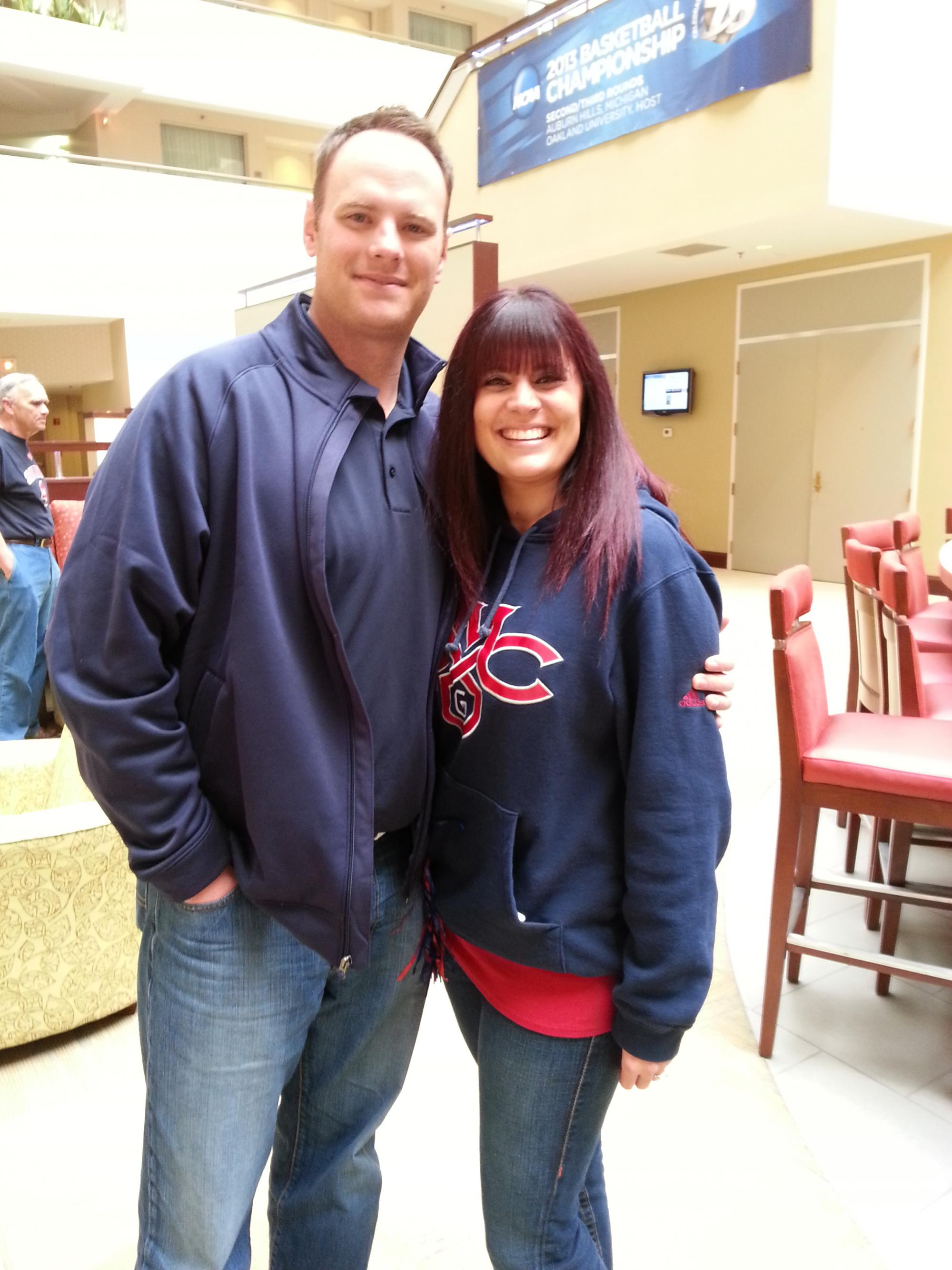 Dusty and Missy Broderick from San Ramon in Michigan at the pregame party