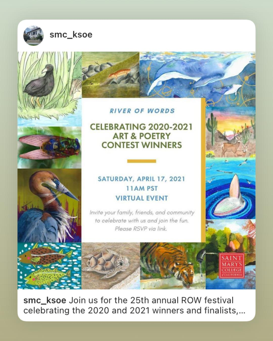 2021 River of Words Virtual Watershed Festival: Celebrating the 2020-2021 Art & Poetry Winners