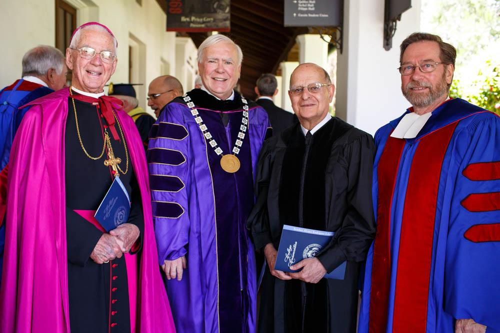 Bishop Emeritus John S. Cummins, Brother President Ronald Gallagher, Brother Alvaro and  Brother Donald Johanson, the District Visitor, before Convocation.