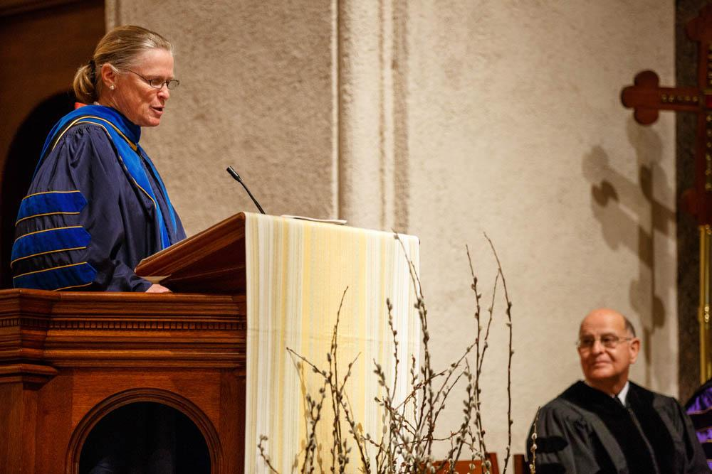 Carole Swain, Director of the Office of Mission, introduced Brother Alvaro and other speakers.