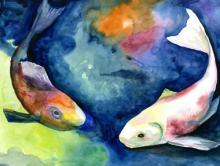 """River of Words painting """"Fish"""""""
