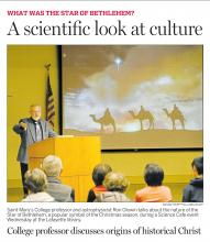 Contra Costa TImes photo of Prof. Ron Olowin delivering a lecture about the science behind Christmas icons such as the Star of Bethlehem.