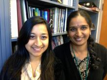 School of Science Professor Vidya Chandrasekaran with junior Slesha Thapa. The third-year student worked with the biology professor and two other SMC students on a summer research project examining the impact of energy drinks on human tissue.