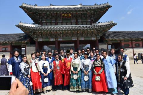 PMBA students dressed in traditional South Korean attire