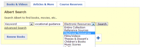 Screen shot of Albert Electronic Resources search