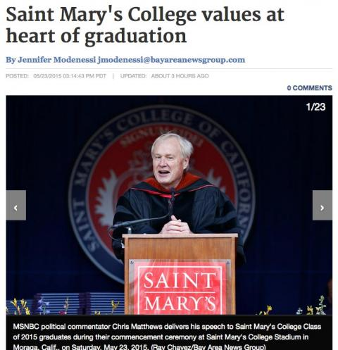 CC Times story on Saint Mary's 2015 commencement
