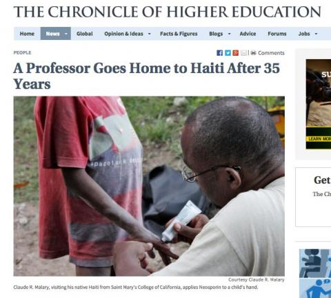 Chronicle of Higher Education story on Modern Languages Professor Claude Malary on Jan Term trip to Haiti.