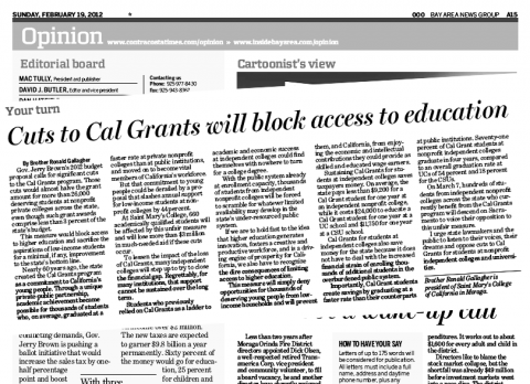 President Gallagher's Cal Grant Op Ed in Contra Costa Times