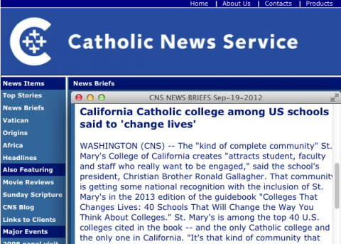 "Catholic News Service reports on Saint Mary's inclusion in ""Colleges That Change Lives."""