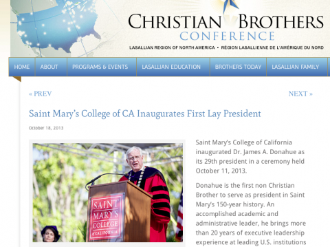 Christian Brothers webstory on Jim Donahue.