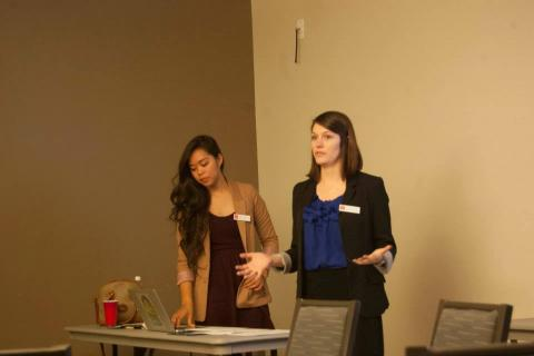 Audrey and Brittany presenting on Writing Circles at the NCWCA Conference 2014