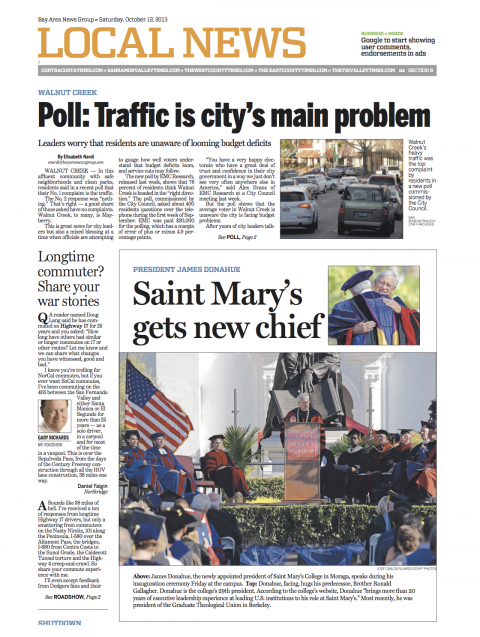 Contra Costa Times local section front page coverage of inauguration of President James Donahue, Ph.D.