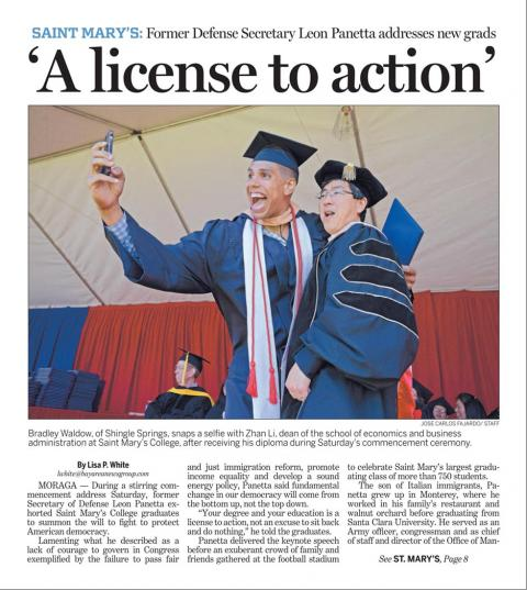 Contra Costa Times covers Saint Mary's 2014 Commencement Ceremony