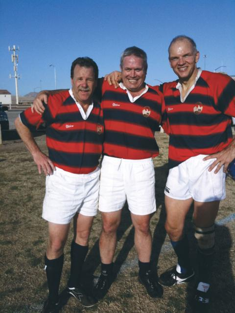 Left to right: David Starkey '85, Bob Lenz '86 and Dan Otter '82, at the Las Vegas Masters Rugby Tournament.