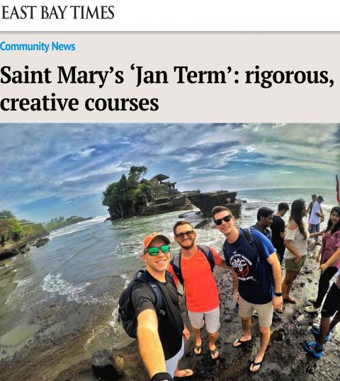 "The East Bay Times story ""Saint Mary's 'Jan Term': rigorous, creative courses"" carries a photo from a Jan Term travel course to Bali, Indonesia."