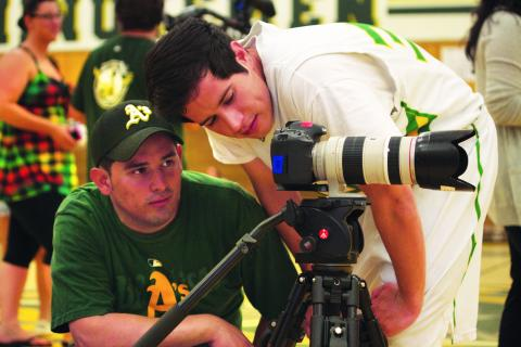 """Director Gus Guardado and fellow Gael Jorge Diaz, the star of the film """"Love, Concord."""""""