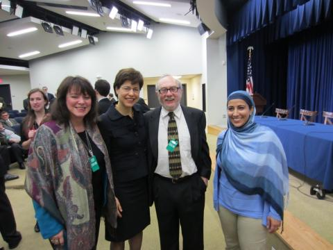 Shown from left to right: Barbara McGraw, Director of the Center for Engaged Religion Pluralism, Saint Mary's; Melissa Rogers, director of the Center for Religion and Public Affairs, Wake Forest University Divinity School; Mark Silk, founding director of the Leonard E. Greenberg Center for the Study of Religion in Public Life, Trinity College and Najeeba Syeed-Miller, Co-Chair of the Religion and Politics Section of the American Academy of Religion and Assistant Professor of Interreligious Education, Claremont School of Theology.