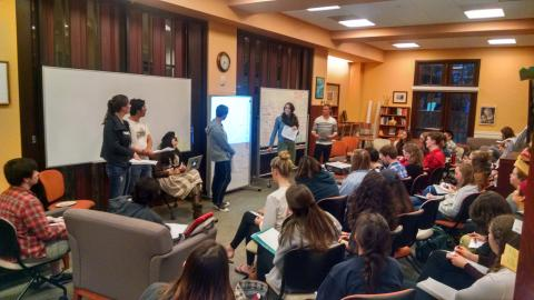 Spring 2016: Writing Advisers present their research to their fellow advisers before presenting at a conference.